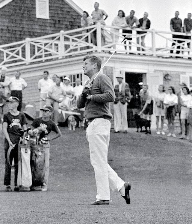 President John F. Kennedy tees off on the first hole during a round of golf at the Hyannis Port Country Club on July 20, 1963 in Hyannis Port, Mass. VIDEO: John F. Kennedy's golf swing
