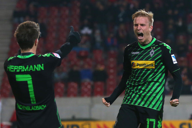 Borussia Monchengladbach's Oscar Wendt (right) celebrates his goal with Patrick Herrmann in Friday's 2-0 victory over Stuttgart.