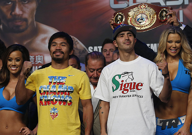 Manny Pacquiao (left) will attempt to defeat Brandon Rios and come back from a loss in his last fight.