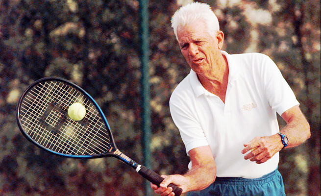 Gardnar Mulloy, show here at age 83, was the oldest player to win a doubles championship at Wimbeldon when he was 43 in 1957.