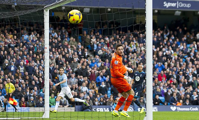 Jesus Navas put Manchester City ahead of Tottenham after just 13 seconds at the Etihad Stadium.