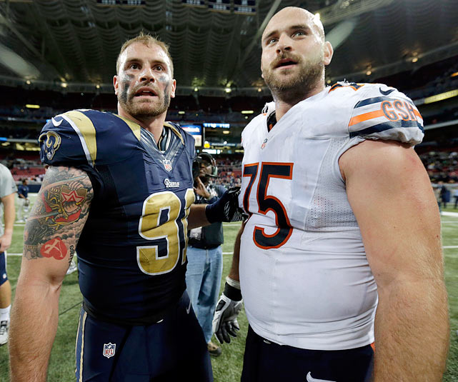 Rams defensive end Chris Long and Chicago Bears right guard Kyle Long ? both the sons of Hall of Fame defensive end Howie Long ? faced off on the field for the first time when the two teams played Sunday Nov. 24, 2013. The Rams won 42-21, but Chris made the biggest bit of news by saving his little brother from a possible in-game ejection. About six minutes into the second quarter, a fight broke out near the St. Louis sideline that had Kyle Long in the middle, and Chris running over from the sideline to pull his brother away from the action. In the end, Kyle was given a 15-yard penalty for pushing off a Rams player.