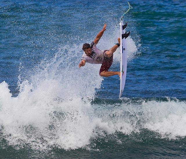 Mitch Coleborn of Australia surfs during the round of 32 at The Reef Hawaiian.