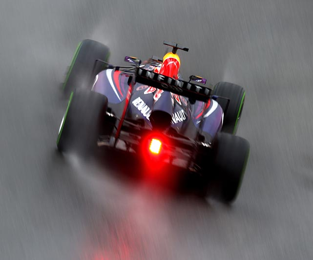Sebastian Vettel of Germany and Infiniti Red Bull Racing drives on his way to finishing first during qualifying for the Brazilian Formula One Grand Prix.