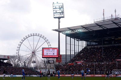 St. Pauli plays at Millerntor Stadium in Hamburg, Germany.
