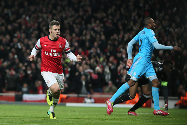 Arsenal's Jack Wilshere celebrates his second goal, which sealed the Gunners' 2-0 Champions League win over Marseille Tuesday.