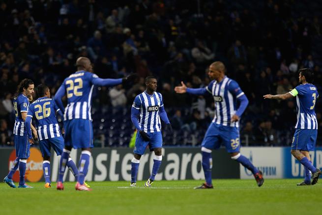 Porto players celebrate Jackson Martinez's equalizer in Tuesday's 1-1 Champions League draw with Austria Vienna.