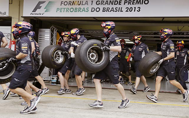 Have at 'em, boys: There was quite a run on tires at Interlagos race track in Sao Paulo, Brazil, during Formula One's season-ending race.
