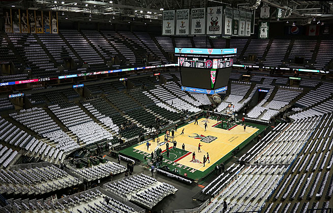 The Bucks were forced to use their old floor because the new one was deemed to be too slippery.