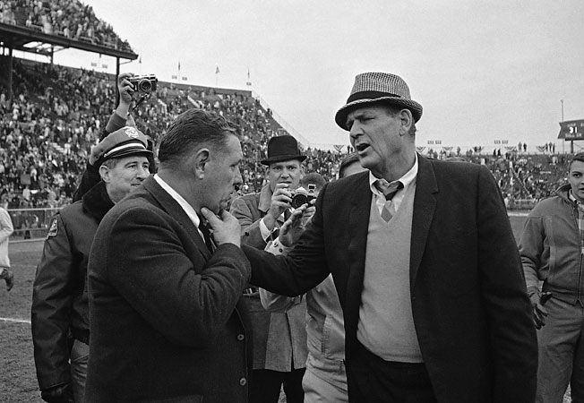 In 1966, Bear Bryant (in hat) and Alabama beat Shug Jordan and Auburn 31-0 in the 31st Iron Bowl.