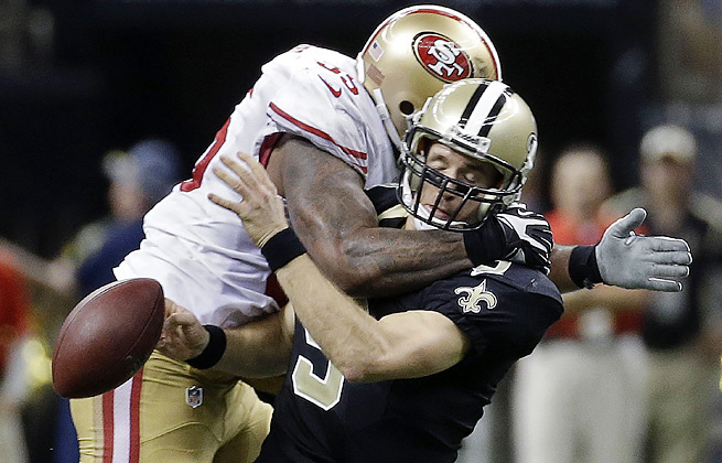 Ahmad Brooks' hit on Drew Brees drew a personal foul penalty and stirred controversy.