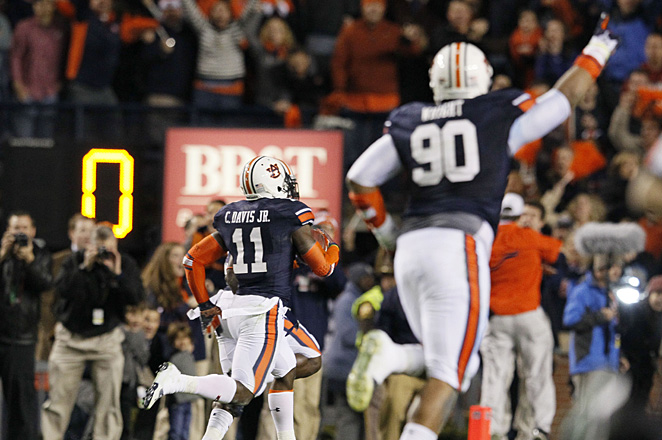 CBS showed nine replays of Auburn's miraculous game-winning field goal return, using many of the 17 cameras they had on the field.