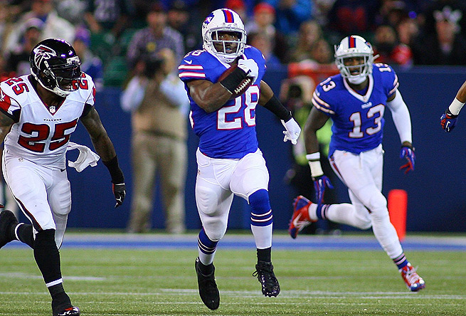 C.J. Spiller put up a season-high 149 yards Sunday, including a 77-yard run to the Atlanta 6-yard line.