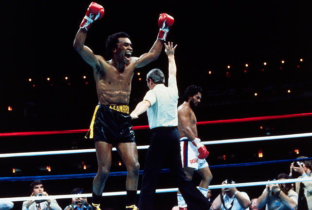 "Five months after he outpointed Leonard for the welterweight title in Montreal, Duran was outboxed in spectacular fashion through seven-and-a-half rounds of the return bout on Nov. 25, 1980. That's when Duran abruptly turned his back and refused to continue, handing Leonard a TKO victory in what came to be known as the ""No Mas"" fight. Click here for Neil Leifer's fine art photography."