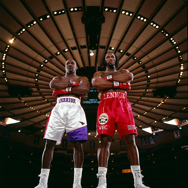 Gladiators in the Garden: Holyfield and Lewis posed at Madison Square Garden in New York City on Nov. 2, 1998, in anticipation of their coming fight in March 1999. That bout would end in a draw. Their second meeting, in Las Vegas in November of '99, would be won by Lewis on a split decision. Click here for Neil Leifer's fine art photography.