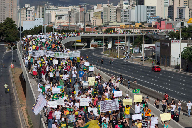 Street protests in Brazil, like the one pictured above at this past summer's FIFA Confederations Cup, are expected to be rampant during next summer's World Cup.