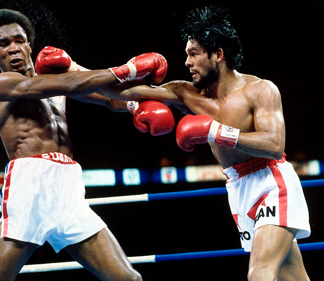 Sugar Ray Leonard, who had won the Olympic light welterweight gold medal in Montreal in 1976 and was now WBC welterweight champion, had come back to that city to defend his title against the former lightweight champion of the world, Roberto Duran, on June 20, 1980. Duran took the title from Leonard that night, beating him narrowly but unanimously, in a war that locked the two fighters in a kind of brutal dance and swept them from one side of the ring to another for 15 rounds. Click here for Neil Leifer's fine art photography.