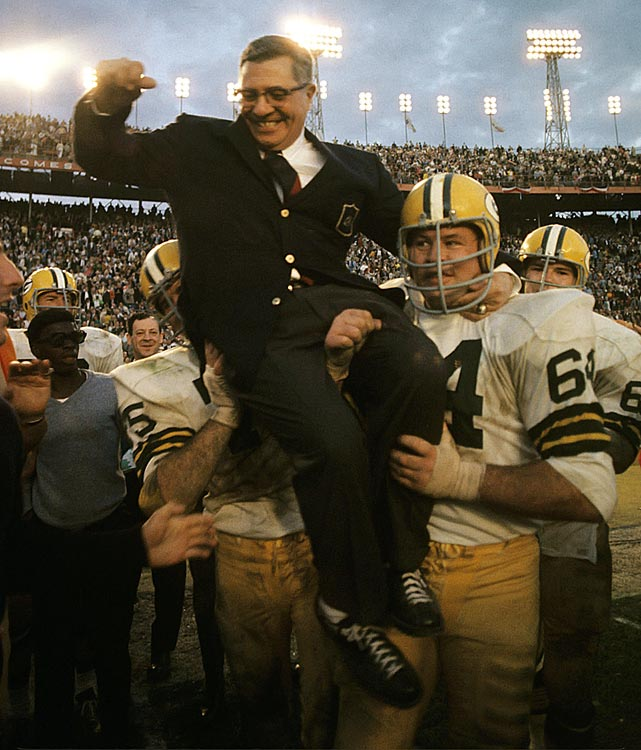 Victorious in the Super Bowl for the second consecutive year, Lombardi is carried off the field by Jerry Kramer (64). Legendary Pictures now has a Vince Lombardi feature film in the works with <italics>All Is Lost</italics> and <italics>Margin Call</italics> writer-director J.C. Chandor already penning the script. Inspired by the news, we present some rare photos of the Hall of Fame coach, who led the Packers to wins in Super Bowl I and II.