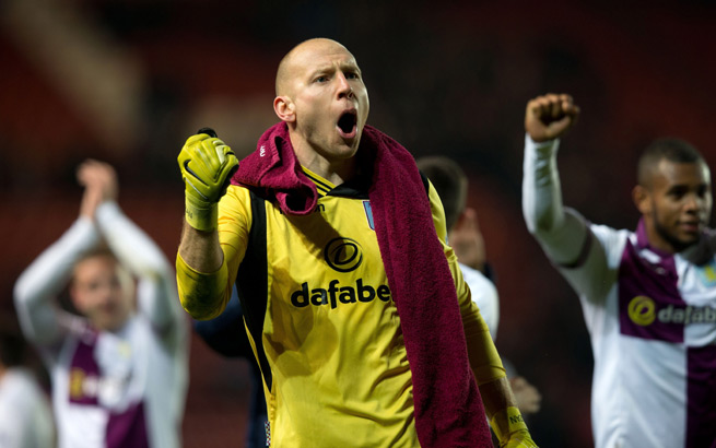 American goalkeeper Brad Guzan celebrates Aston Villa's 3-2 victory over Southampton on Wednesday.
