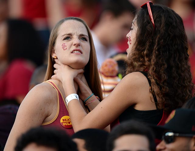 "The photo agency's official caption reads: ""USC students enjoy some pregame bonding before the Trojans hosted the UCLA Bruins at L.A. Memorial Coliseum."" We'll leave it at that."