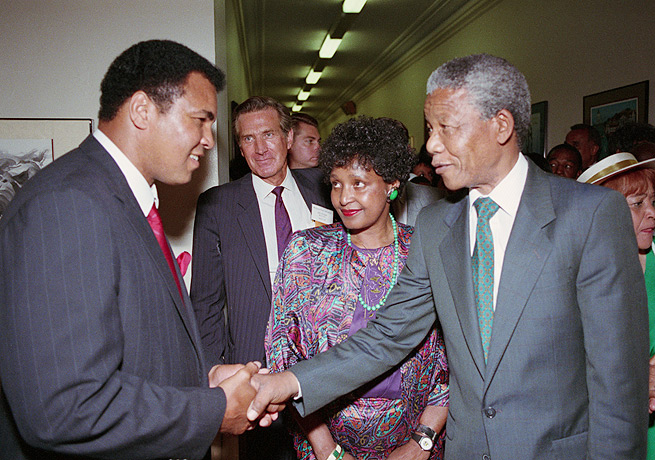 Muhammad Ali (left) and Nelson Mandela were both global icons when they met in 1990.