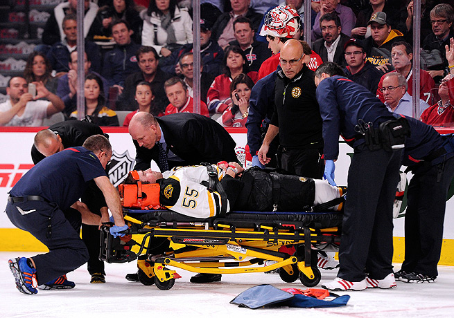 Johnny Boychuk was stretchered off the ice but was later released from an area hospital.