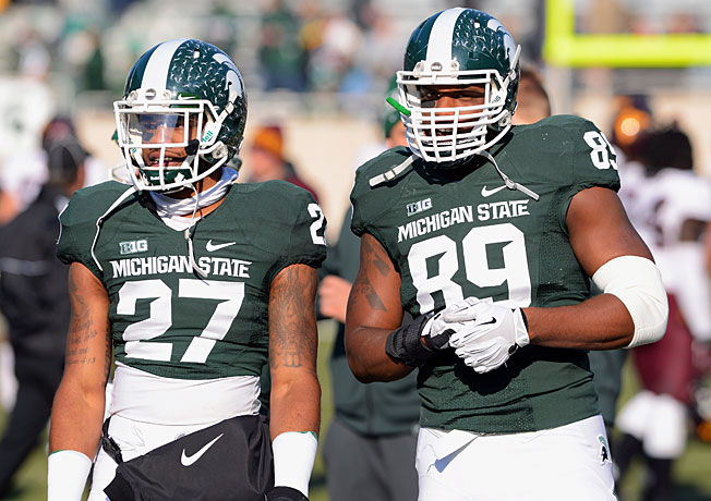 Michigan State's defense will look to slow Ohio State's high-scoring offense in the Big Ten title game.