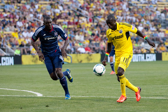 Dominic Oduro, right, signed a new deal with the Columbus Crew after scoring a team-high 13 goals in 2013.