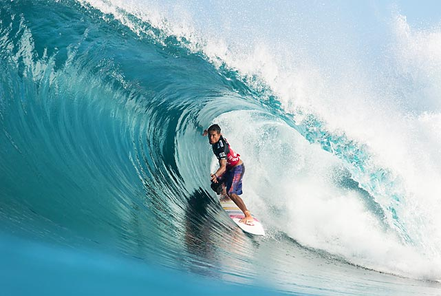 Kahea Hart rides a wave at the Billabong Pipe Masters in Memory of Andy Iron at Backdoor, Hawaii, on Sunday. Hart lost his first-round heat to Yadin Nicol. The Billabong Pipe Masters, part of the Vans Triple Crown of Surfing, was in its fifth round as of Wednesday, Dec. 11.