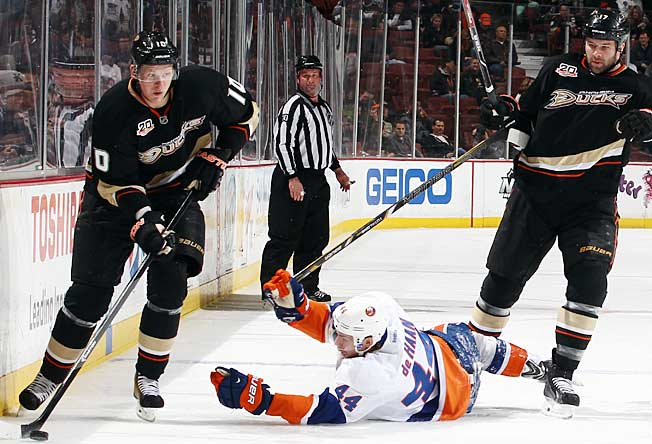 With a romp over the doormat Islanders, the gritty Ducks grabbed a share of the overall NHL lead.