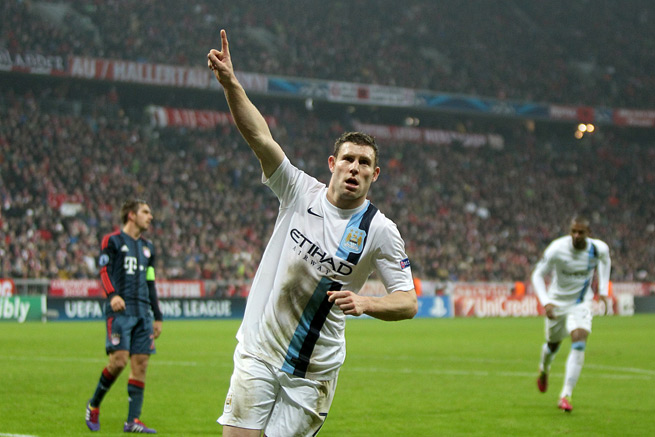 Manchester City's James Milner celebrates his game-winning goal against Bayern Munich in the Champions League on Tuesday.