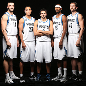The Timberwolves have a solid starting lineup of (from left) Nikola Pekovic, Kevin Martin, Ricky Rubio, Corey Brewer and Kevin Love.