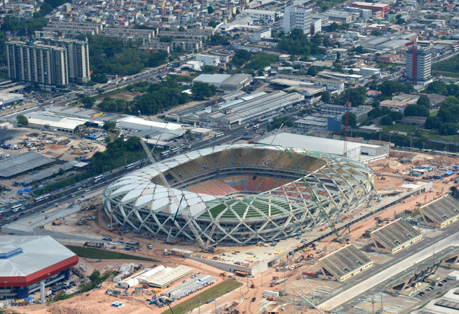 Arena Amazonia in Manaus will host four World Cup matches, including USA-Portugal and England-Italy.