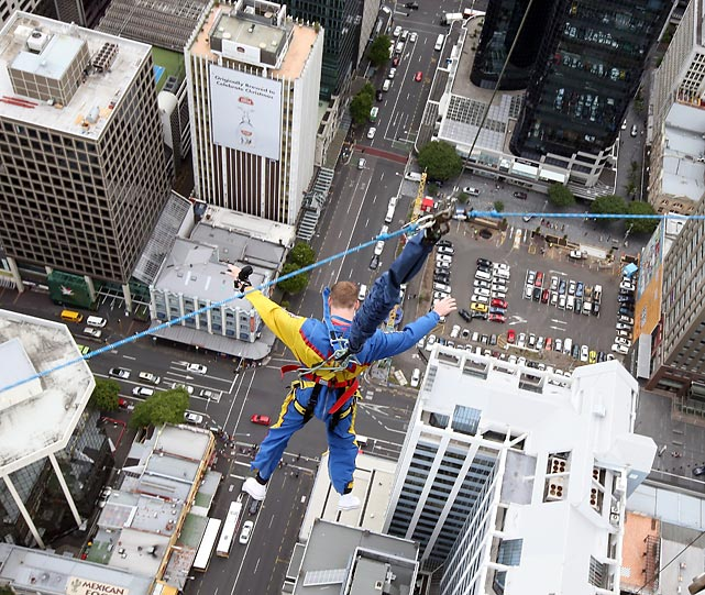 At New Zealand's Auckland Sky Tower, Mr. Tomkins took the plunge and signed with the New Zealand Warriors rugby team. You can watch the thrilling video here.