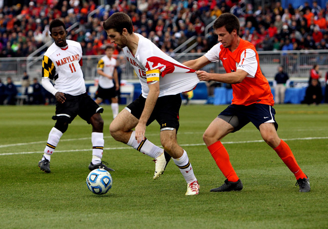 Maryland's Patrick Mullins, center, helped give the Terrapins the edge over Virginia in the ACC final, and the two rivals will tussle again in one of Friday's College Cup national semifinal bouts.