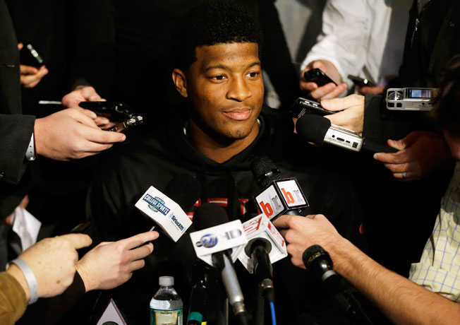 Florida State's Jameis Winston addressed the media during a pre-Heisman ceremony press conference.