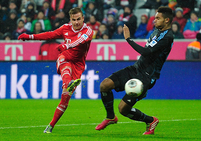 Mario Goetze (left) scored Bayern Munich's second goal against Hamburg in the 52nd minute.