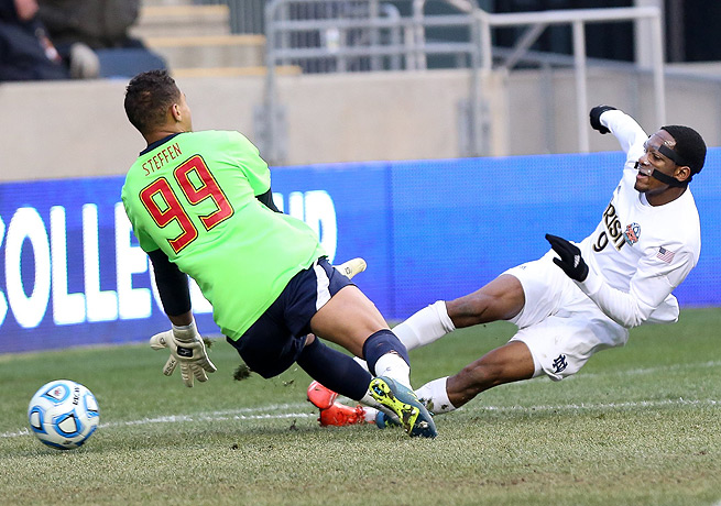 Leon Brown (right) bundled in Notre Dame's first goal to tie the game in the 40th minute.