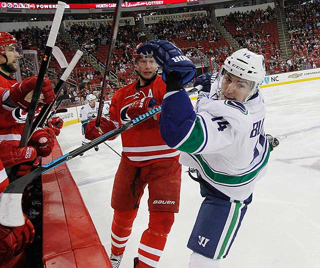 Out since Dec. 1 with a broken jaw, the usually durable forward, once a productive linemate of the Sedins, has had a brutal season that started with a broken foot on Opening Night. (He missed more than three weeks.) But even when Burrows was in Vancouver's lineup, the Canucks went 6-7-4 in the 17 games he played. He saw the ice for more than 18 minutes per game, but failed to score a goal despite taking 49 shots and his -7 rating was the worst among the team's forwards. His slump and absence has forced coach John Tortorella to search for someone to slot in on the Sedins' line in the hope they can recreate some of the chemistry the twins used to have with Burrows. -- <italics>Brian Cazeneuve</italics> <bold>Ten Best NHL Player Surprises</bold>