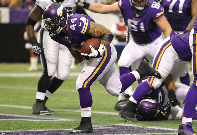 Matt Asiata only averaged 1.7 yards per carry against the Eagles, but he scored three touchdowns.