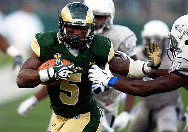 Colorado State running back Kapri Bibbs (5) has racked up 1,572 rushing yards and 28 scores in 2013.