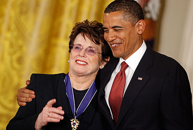 President Obama presented the Medal of Freedom, the highest civilian honor, to Billie Jean King in 2009.