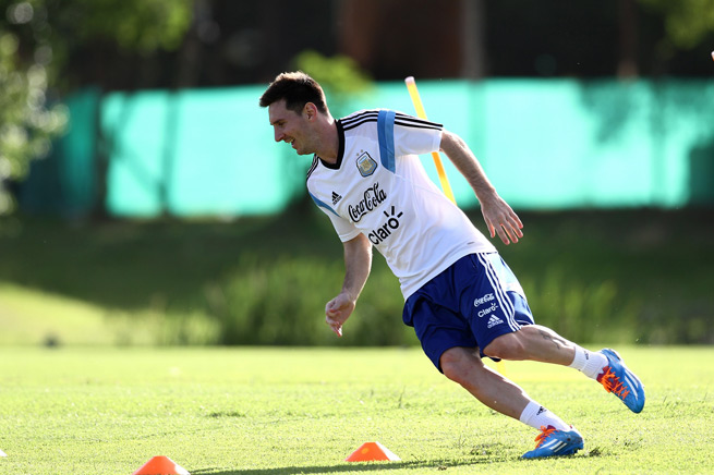 Lionel Messi trains in his native Argentina in early December as he recovers from a hamstring injury.
