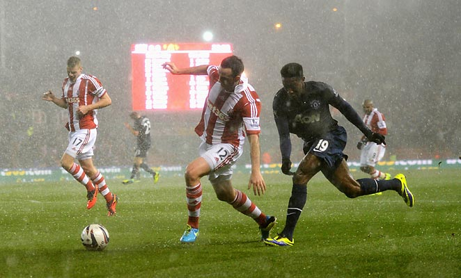 Manchester United's win at stoke was delayed for more than 10 minutes thanks to a hail storm.