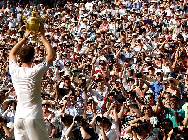 Great Britain's Andy Murray celebrates championship point during the Wimbledon finals against Novak Djokovic of Serbia on July 7 in London. Murray won in straight sets.
