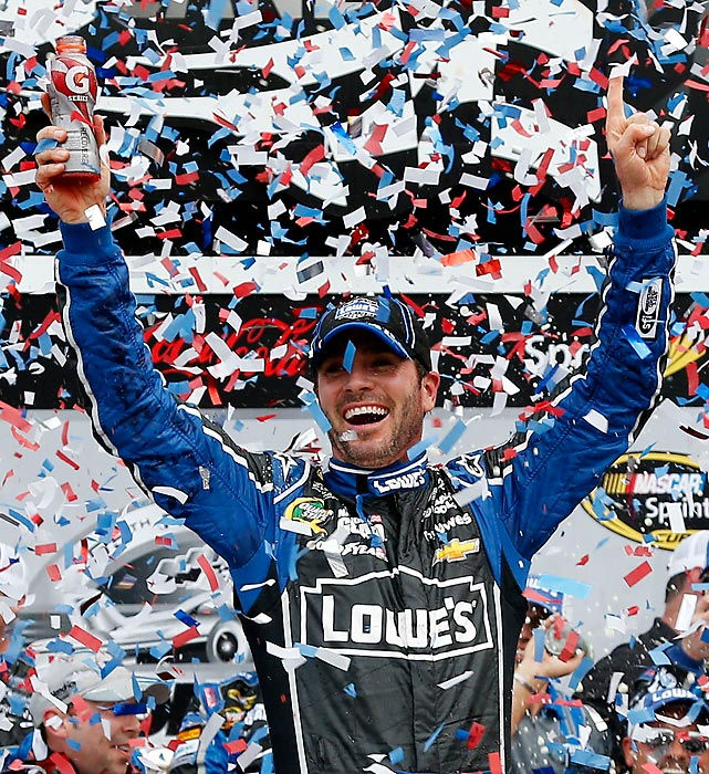 Jimmie Johnson celebrates in victory lane after winning the Daytona 500 on February 24.