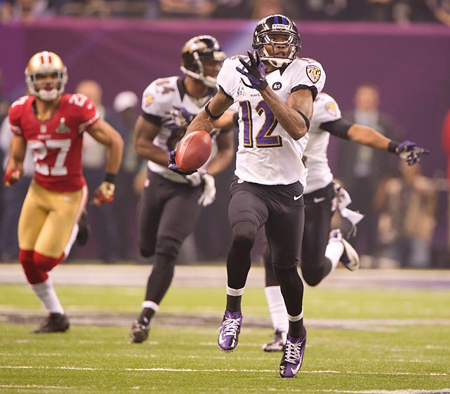 Jacoby Jones had two of the biggest plays in the game, including this 108-yard kickoff return to start the second half.