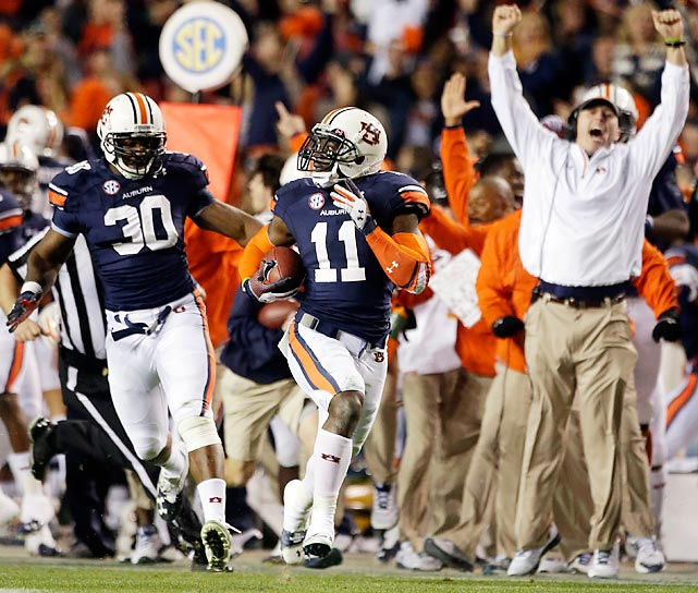 Auburn cornerback Chris Davis races down the sideline to return a missed Alabama field goal 100 yards for a touchdown. Davis' return on the final play of the game won the Iron Bowl and sent Auburn to the SEC Championship Game while likely costing Alabama a chance to defend its back-to-back national titles.