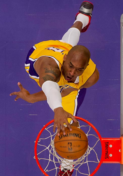 Kobe Bryant throws down a dunk in the second half of the Lakers' matchup with the Clippers on Feb. 14. Despite 20 points and 11 assists from Bryant, the Lakers fell to their Los Angeles rivals 125-101.