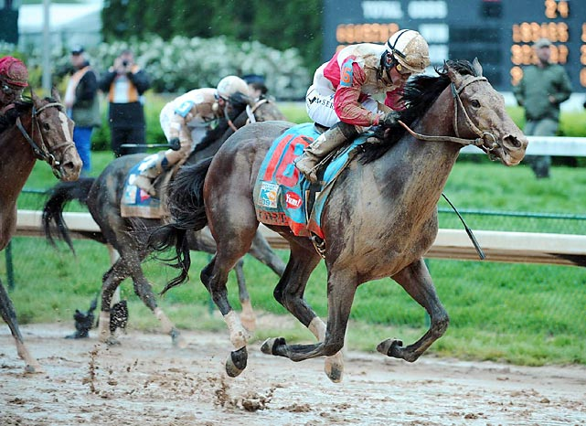 Orb and his jockey Joel Rosario came from behind to claim victory by 2 ½ lengths at the 139th running of the Kentucky Derby at Churchill Downs on May 4.